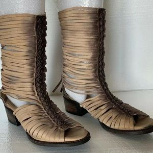FREEBIRD BY STEVEN India Cage Strappy Fringe Boots
